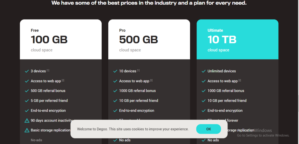 Degoo offers you 100GB of free cloud storage without ads.