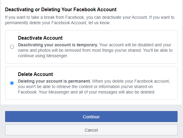 Delete Facebook Account, Delete all Social Media Accounts