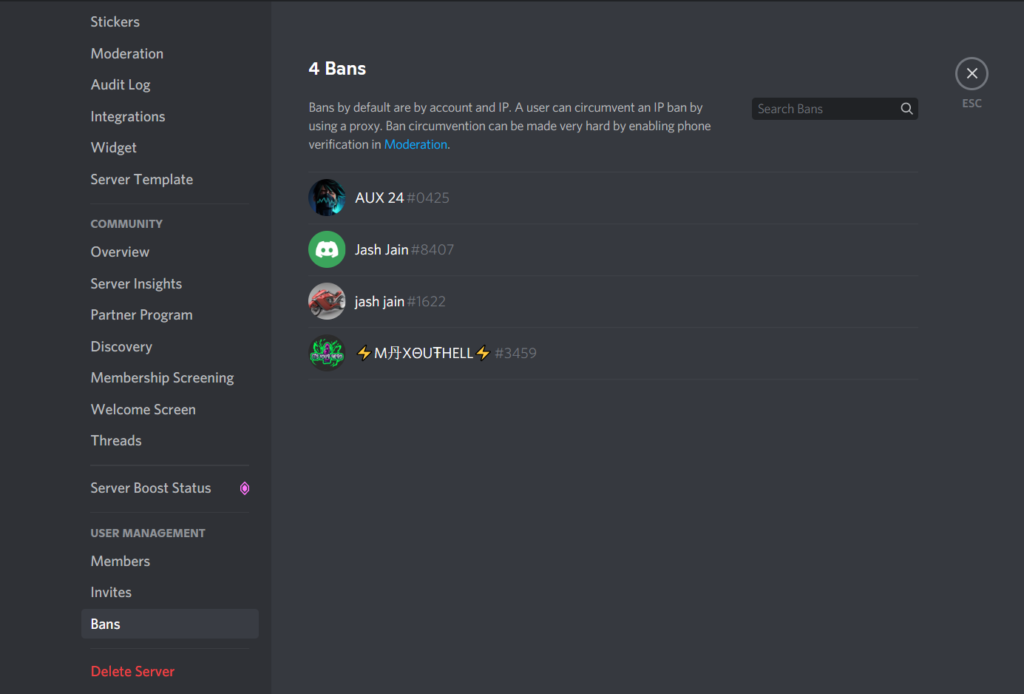 ban list in discord server